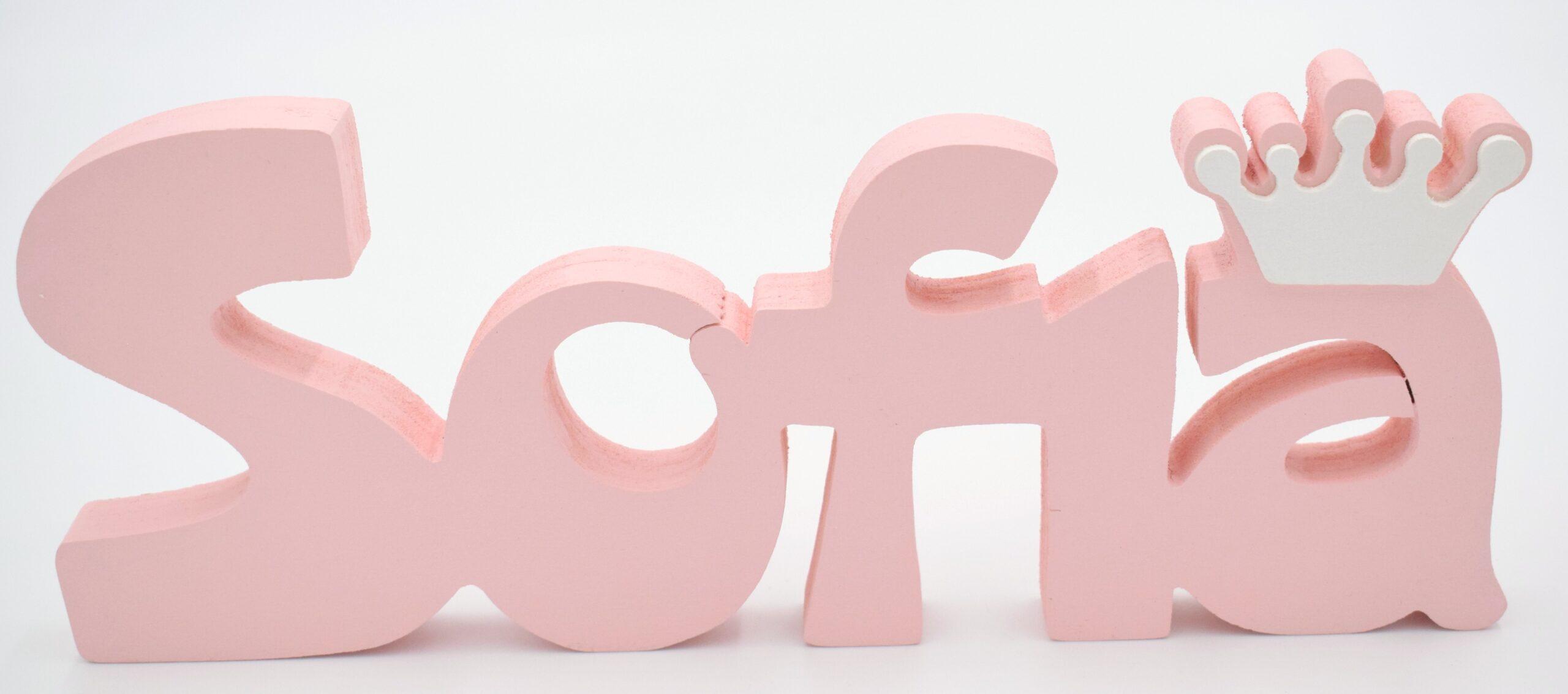 scritta in legno rosa