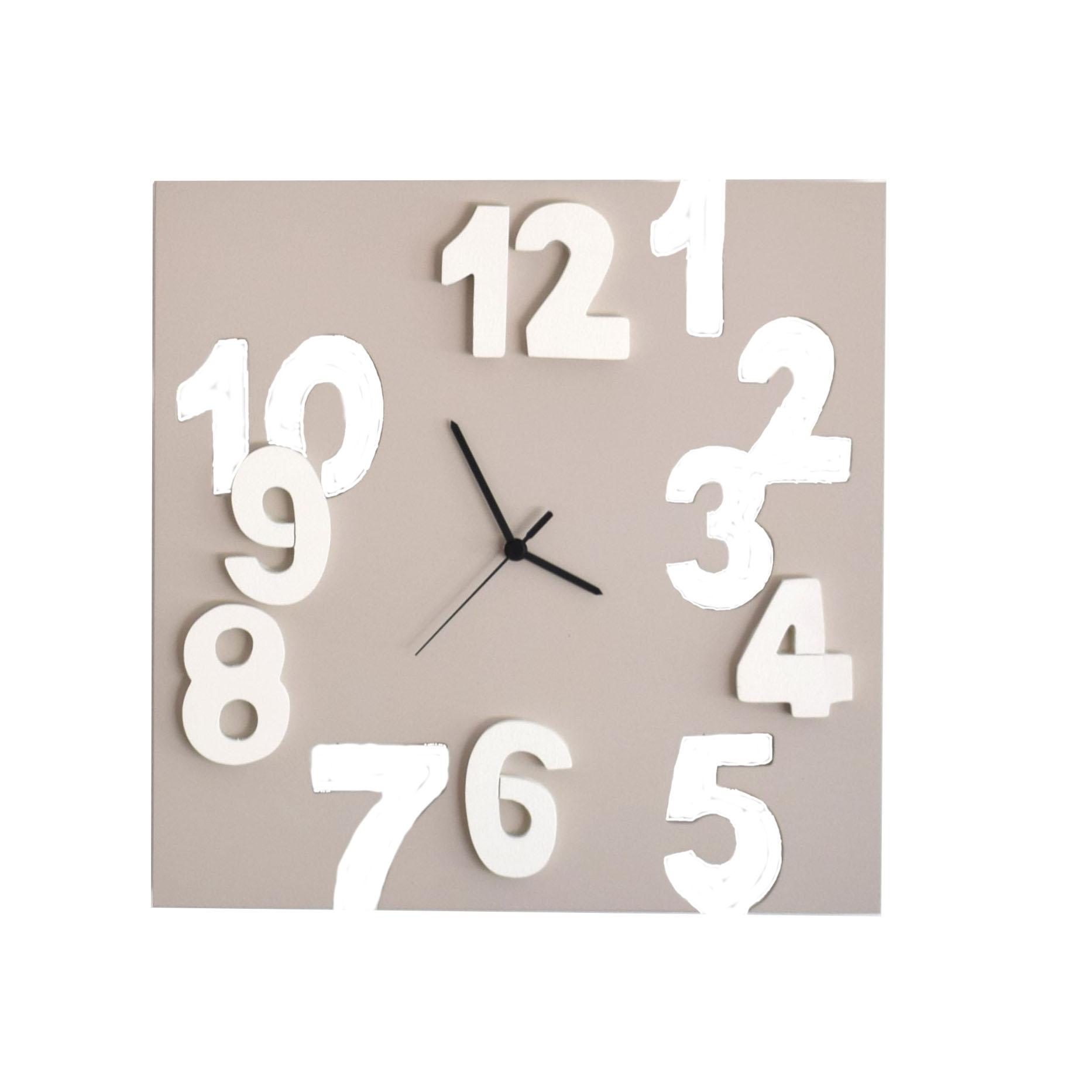 orologio 3d quadrato tortora chiaro