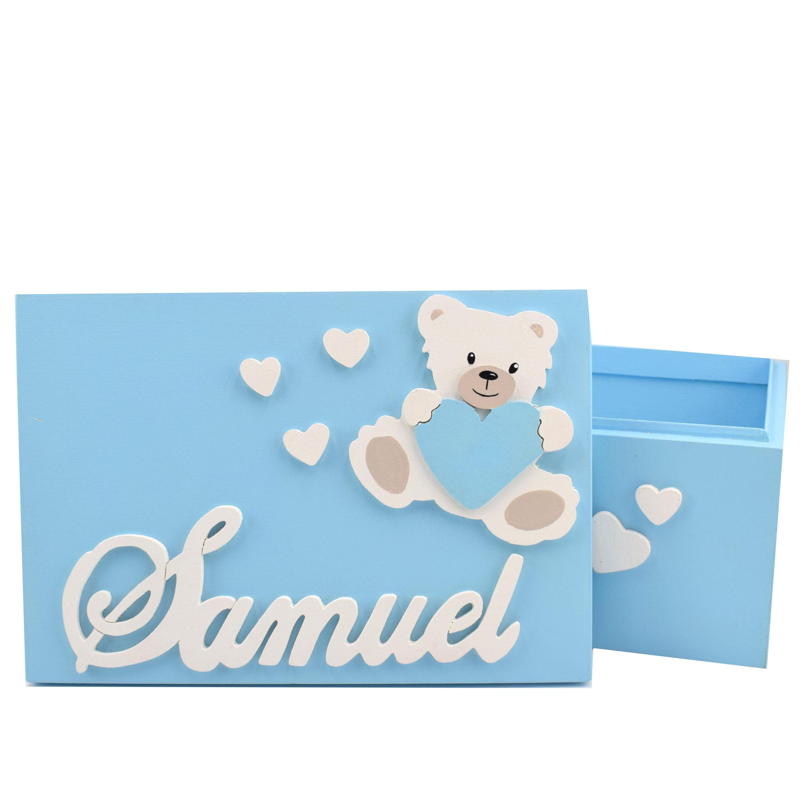 scatola orsetto azzurra