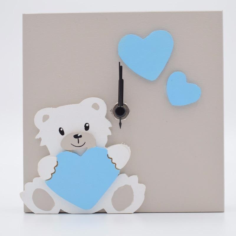 orologio con orsetto cuore azzurro