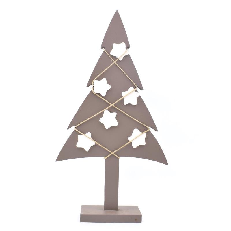 albero di Natale tortora stelle bianche