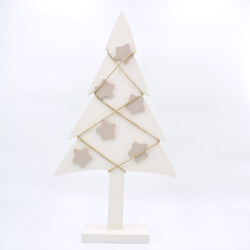 albero di Natale bianco stelle tortora chiaro