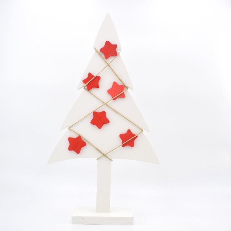 albero di Natale bianco stelle rosse