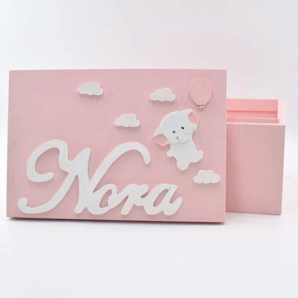 scatola dei ricordi elefantino rosa
