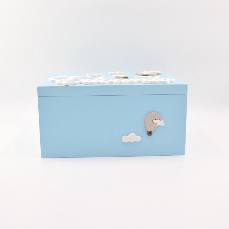 scatola dei ricordi mongolfiera azzurra lato