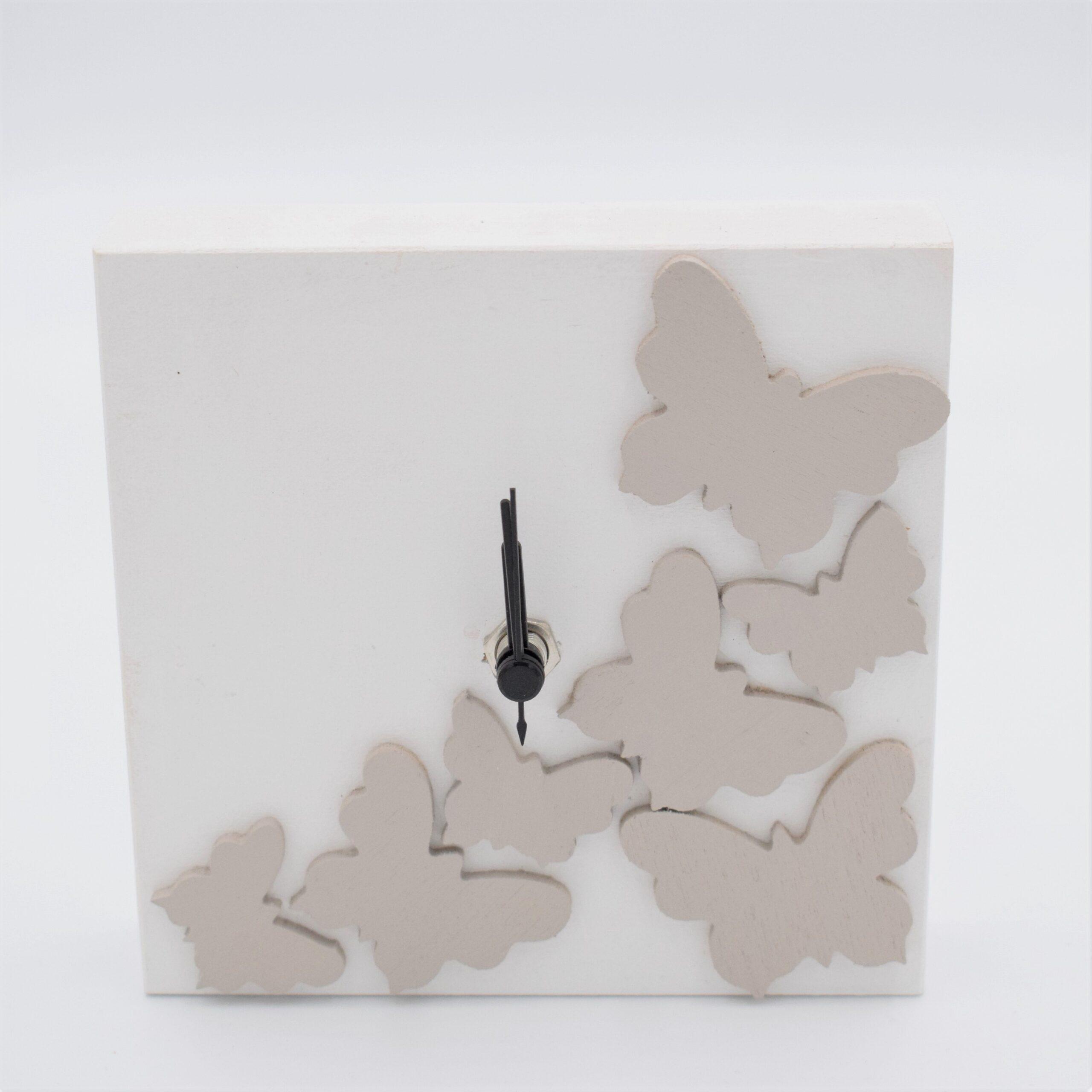 orologio farfalla bianco e tortora chiaro