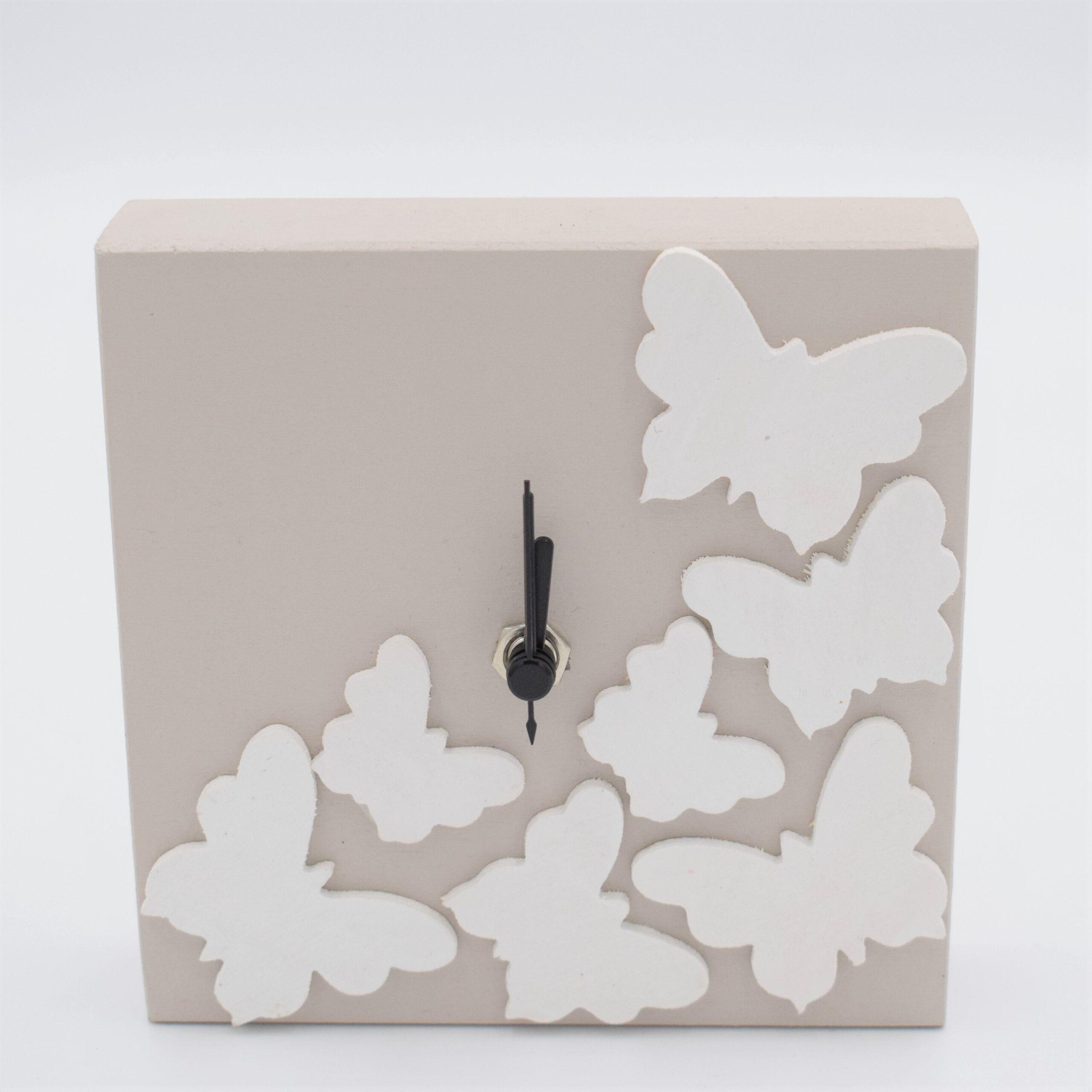 orologio farfalla tortora chiaro e bianco