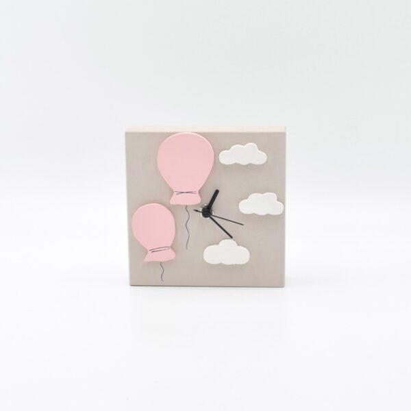 orologio palloncini tortora chiaro e rosa