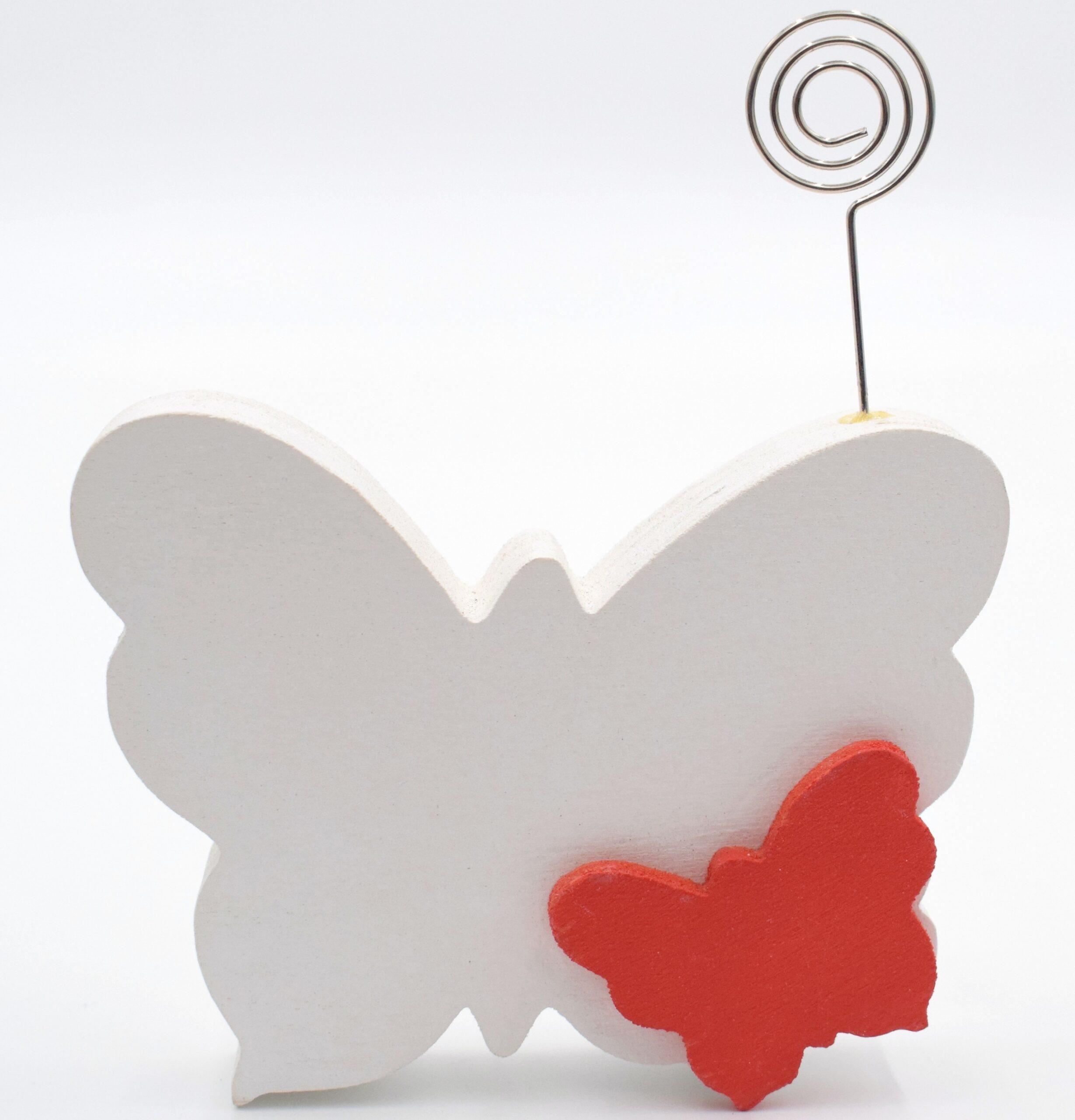 portafoto farfalla bianca e rossa